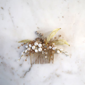 Gold Comb with Pearl Flowers